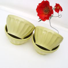 Vintage Ceramic Cereal Bowls French Cafe Au Lait by WhimzyThyme