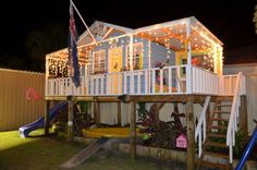 What a great place to spend Christmas!  This is the Queenslander Cubbie house by Kitcraft Australia. it's a quality pre-cut kit made of aussie grown timber that has found a great home with a loving family.