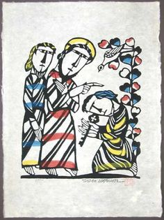 Japanese Art by the artist Sadao Watanabe | Christ Giving the Keys to St. Peter 1992