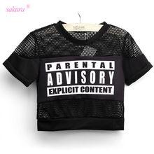 Sakura 2015 verano sexy crop top t shirt PARENTAL ADVISORY camiseta impresa…