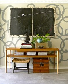 small spaces : entryways + foyers | the handmade home - love this....maybe with chalkboard paint in the command center