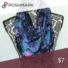 Floral infinity scarf A black infinity scarf with pink, blue, and purple floral design Accessories Scarves & Wraps