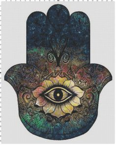 Hamsa Hand Protection Watching You Fantasy Cross Stitch Printable Needlework Pattern - DIY Crossstitch Chart, Relaxing Hobby