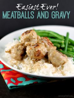 Easiest Ever Meatballs and Gravy - You only need 6 ingredients and 20 minutes for this delicious dinner! #meatballs #easy