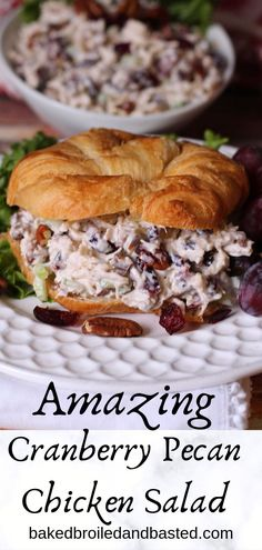Cranberry Pecan Chicken Salad This cool and breamy chicken salad can be dressed up and served fancy or served on plain white bread. It is slightly sweet and savory all at once and has a nice crunch fr Pecan Chicken Salads, Chicken Salad Recipes, Salad Chicken, Keto Chicken, Cranberry Chicken Salad Sandwich Recipe, Chicken Salad Sandwiches, Cranberry Chicken Salads, Chicken Salad On Croissant, Almond Chicken