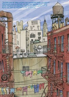 New York, Little Italy via Urban Sketchers. I'm not sure who is the author of the sketch.