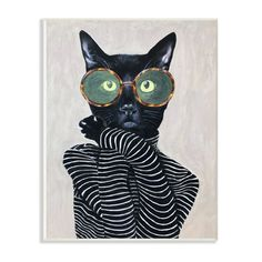 """The Stupell Home Decor Collection 10 in. x 15 in. """" Fashion Feline Striped Shirt And Round Glasses Cat"""" by Coco de Paris Wall Plaque Art - The Home Depot Pop Art, Deviant Art, Canvas Art Prints, Canvas Wall Art, Banksy Art, Cat Wall, Portrait, Fine Art America, Modern Art"""
