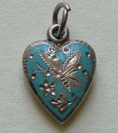 Victorian Enameled Butterfly Sterling Heart