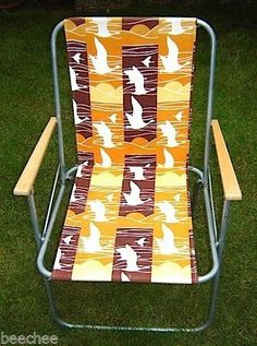 VTG 60s 70s RARE BIRDS SUNSET STRIPE FOLDING DECK CHAIR BEACH HUT CAMPER VAN | eBay