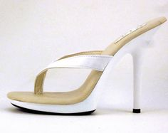 VIP 5 inch Handmade White Leather Thick Thong Foot Fetish Mule High Heel Flip Flop Sandals Woman Shoes