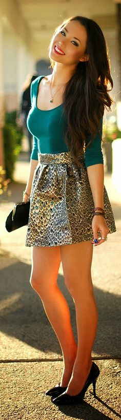 Peacock Printed Mini Skirt with Pop Color Top | Ch...