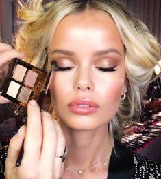 Charlotte Tilbury — Exagger-Eyes Eyeshadow Palette ( Frida Aasen ) - All For Little Girl Hair Makeup Vs No Makeup, Models Makeup, Kiss Makeup, Glowy Makeup, Hair Makeup, Makeup Looks, Wedding Guest Makeup, Wedding Hair And Makeup, Bridal Makeup
