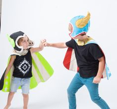 Play Hard and use your imagination! This Super Awesome dress up set includes reversible cape & winged hat. hand printed on natural duck canvas. Cape has