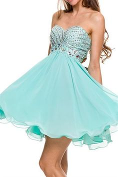 Beaded Short Prom Dress - Black, Mint, Red, or Royal
