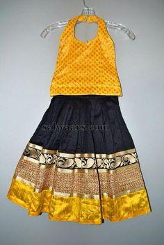 Traditional and Designer Black Lehenga - Indian Dresses Kids Indian Wear, Kids Ethnic Wear, Little Girl Dresses, Girls Dresses, Baby Dresses, Kids Blouse Designs, Kids Dress Patterns, Kids Lehenga, Baby Frocks Designs