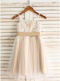 A-Line/Princess Straps Knee-length Sash Bow(s) Tulle Lace Sleeveless Flower Girl Dress Flower Girl Dress