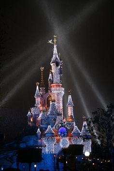 Sleeping Beauty Castle at night with Christmas lights, Disneyland Paris