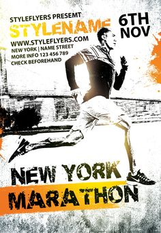 Download this catchy sport flyer for your New york marathon! You can unlimitedly customize and edit it! #marathon #sport #activity #newyork #event