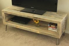 Reclaimed wood long TV stand handmade in America.