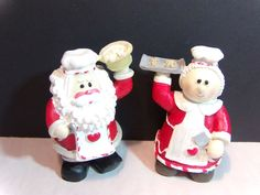 Set of Santa Claus and Mrs Claus Bakery Chef Christmas Figurines | eBay