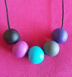 Polymer Clay Necklace 5 Large Round Beads by EmbellishHandmade, $27.00
