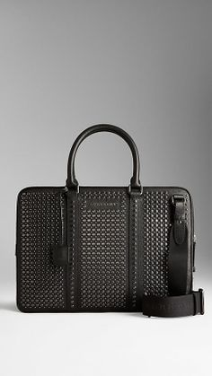 Studded London Leather Briefcase   Burberry