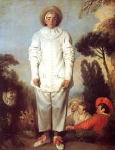 "Jean-Antoine Watteau: Pierrot, also known as Gilles, 1718-19, oil on canvas, 6'11"" x 4'11"" - The Louvre. Rococo (or sometimes, in France, style Louis XV)."