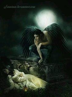 Dark Fantasy Art Product | Dark Fallen Angel Gothic Fantasy | FAE/PIXIE/FAIRIES/FANTASIES