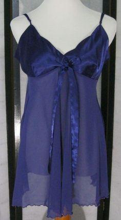 Victoria's Secret Nightie Purple Lg Adj. Straps Suggestively Demure #VictoriasSecret #ShortGowns