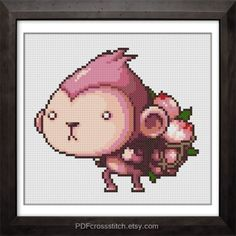 0092 Peach Monkey  PDF Cross Stitch pattern by PDFcrossstitch