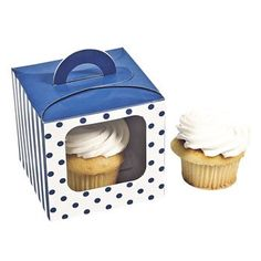 Blue Polka Dot Cupcake Boxes With Handle - Solid Color Party Supplies and Solid Color Favor Containers * More infor at the link of image @ : Baking tools