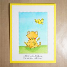 Little Birdie Birthday Card with Cat eating bird by Elizabeth G Creations | Newton's Nook Designs Stamps