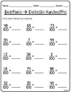 After weeks and weeks of working on it, I finally finished my Fraction Printables for Grade. I started out creating printables to use to. Fractions To Decimals Worksheet, Teaching Decimals, Math Fractions, Teaching Math, Multiplication Games, Percents, Portuguese Lessons, Learn Portuguese, School Lessons