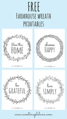 Free farmhouse wreath printables from Sweet Maple Lane!