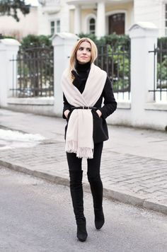 White Belted Scarf 2017 Street Style