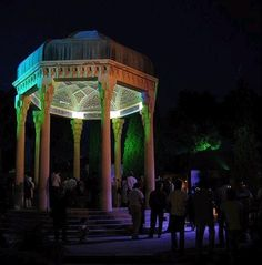 "Tomb of Hafez of Shiraz -Hafez of Shiraz who lived in the 14th century (AD)ranks as one of Iran's greatest natioanl poets, right up there along with Rumi, Ferdowsi and Nezami. His master work ""Divan-e Hafez"" is used by many Iranians as a sort of spiritual guidance as well as for fortune telling. His tomb is located in a most lovely Persian garden in the so called ""city of roses and nightingales"", Shiraz in southern Iran. It is from this lovely city that the wine branded as ""Shiraz"" got its…"