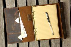 Journal en cuir personnalisé A5 portefeuille en cuir vieilli
