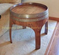 """Amazon.com: 22"""" Solid Oak End Table with Arch Legs Made By Wine Barrel Creations: Furniture & Decor"""