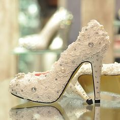 Paris spring rhinestone pearl lace flower wedding shoes bridal shoes wedding shoes white high heeled shoes A Breathtaking Collection of Whit...