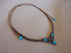 macrame necklace / choker with turquoise beads and seed by Knotify