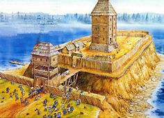Wilderness keep hamlet battle gatehouse bridge wooden walls the defenders with Teutonic, and there fore attackers could well be Poles or Lithuanians . Chateau Medieval, Medieval Castle, Medieval Fantasy, Fantasy City, Fantasy Castle, Fantasy World, Ancient Buildings, Ancient Architecture, Historical Architecture