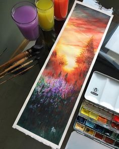 Bookmarks like this make you love reading even more. Watercolor Landscape, Landscape Paintings, Watercolor Paintings, Watercolors, Landscape Art, Painting Inspiration, Art Inspo, Drawn Art, Watercolor Illustration