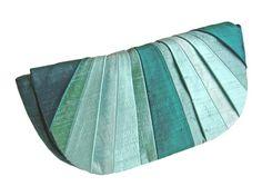 Pleated Silk Clutch Purse  Underwater Aquas by jesswitaj on Etsy, $50.00
