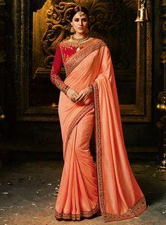 Peach Silk Saree With Heavy Blouse 118362