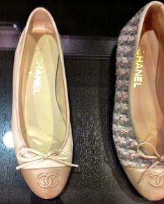 Chanel neutral ballet flats