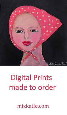 This digital print of a woman wearing a pink kerchief bandanna will be made to order for your wall space. All you have to do is select the size you need from the menu, and your print will be printed within three to five days. It will be shipped promptly via USPS.    You will receive a print on professional photographic paper, which will have a matte finish, and a 1/4 inch white border. Pop it in a frame, and it's ready to hang. Instantly fill your empty walls with art that you can enjoy for…