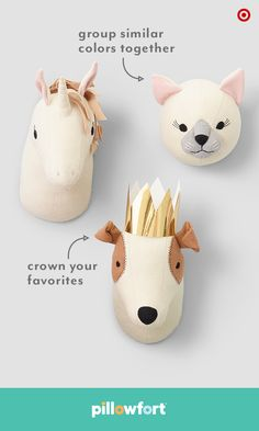 Animal themes are always fun in a kid's room, and Pillowfort ups the style ante with adorable animal head wall mounts. From unicorns to cats to pups (there's a whole zoo of options!), kiddos can pick whatever furry friends they want—and decorate their space the way they like.