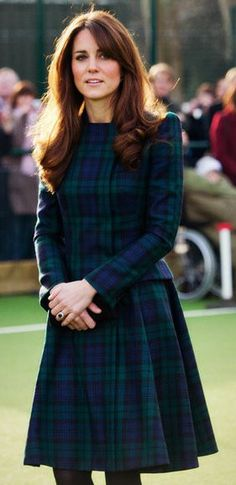 Beautiful Duchess Catherine in beautiful Alexander McQueen Black Watch tartan plaid coatdress