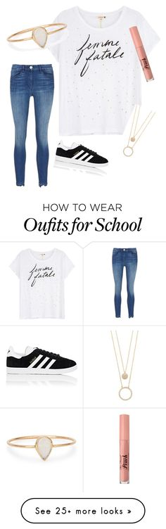 """School Inspo"" by haleygrace83 on Polyvore featuring Sundry, Catbird, Kate Spade, Too Faced Cosmetics and adidas"