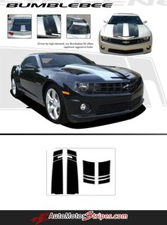 aaabfedeefa 2010-2013 or 2014-2015 Chevy Camaro Bumblebee Style Racing Stripes Rally 3M  Vinyl Graphics Kit for SS RS LS LT Models